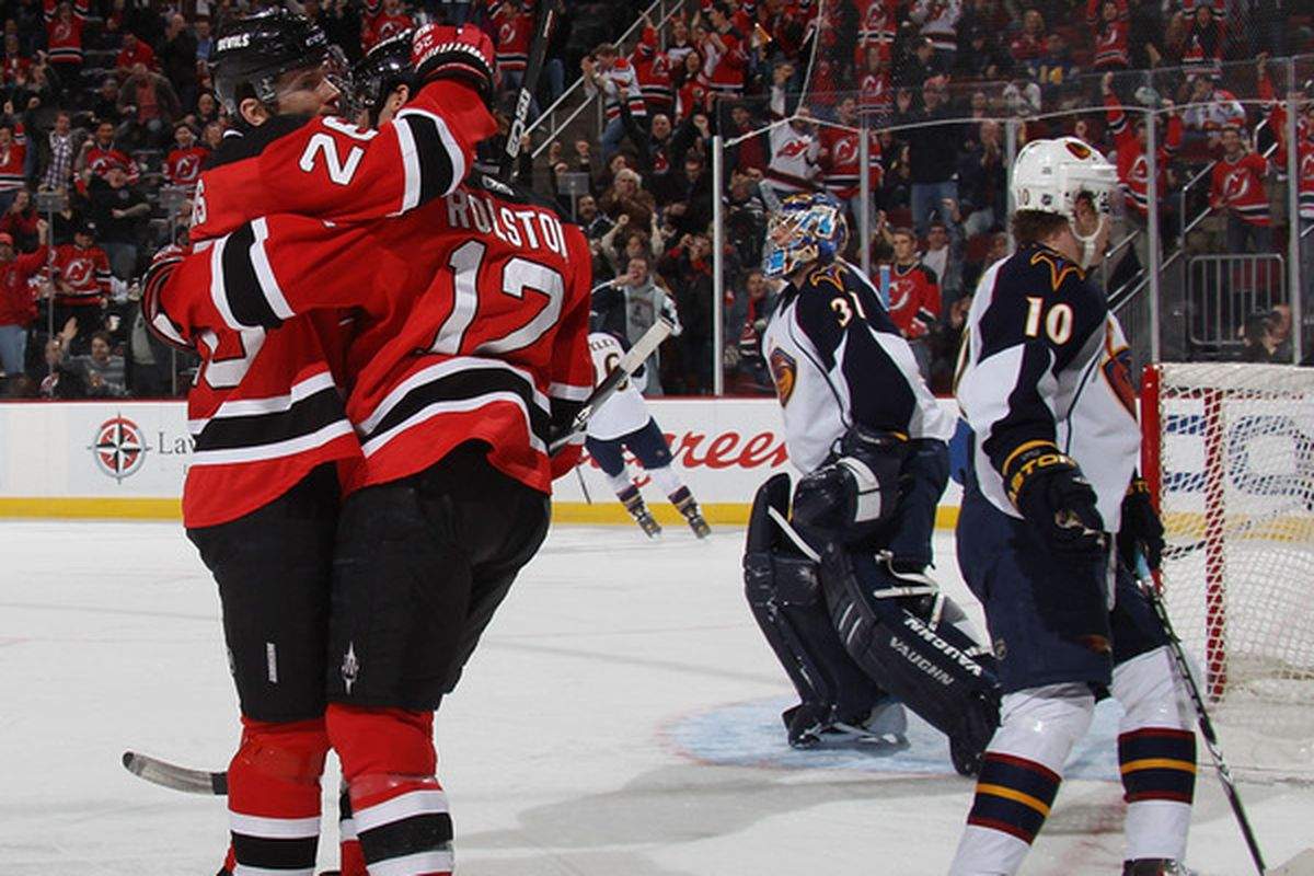 This is as much about the Devils in the background as it is about the Devils in the foreground.  (Photo by Bruce Bennett/Getty Images)