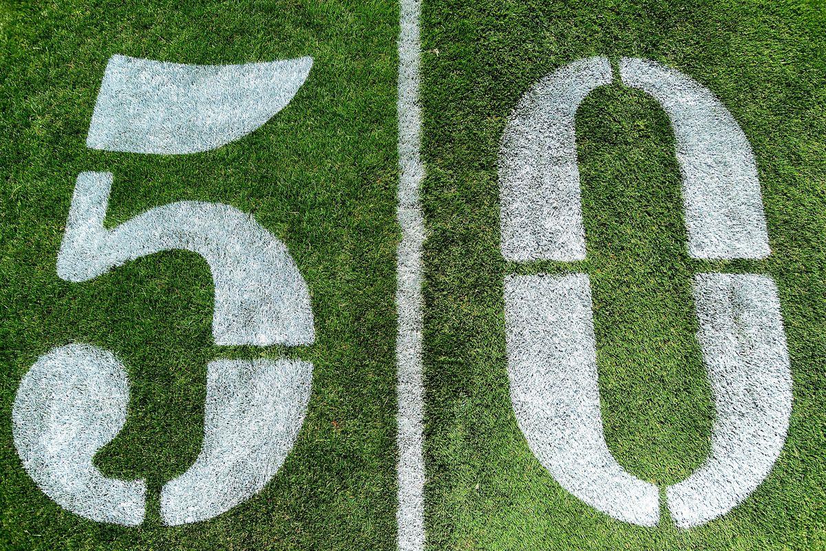 July 23, 2012; Bethlehem, PA. USA; A general view of the 50 yard line prior to Philadelphia Eagles training camp at Lehigh University. Mandatory Credit: Evan Habeeb-US PRESSWIRE