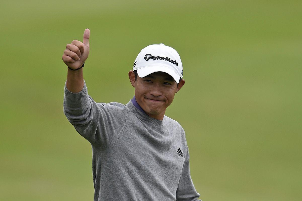 Collin Morikawa celebrates after winning the 2020 PGA Championship golf tournament at TPC Harding Park.