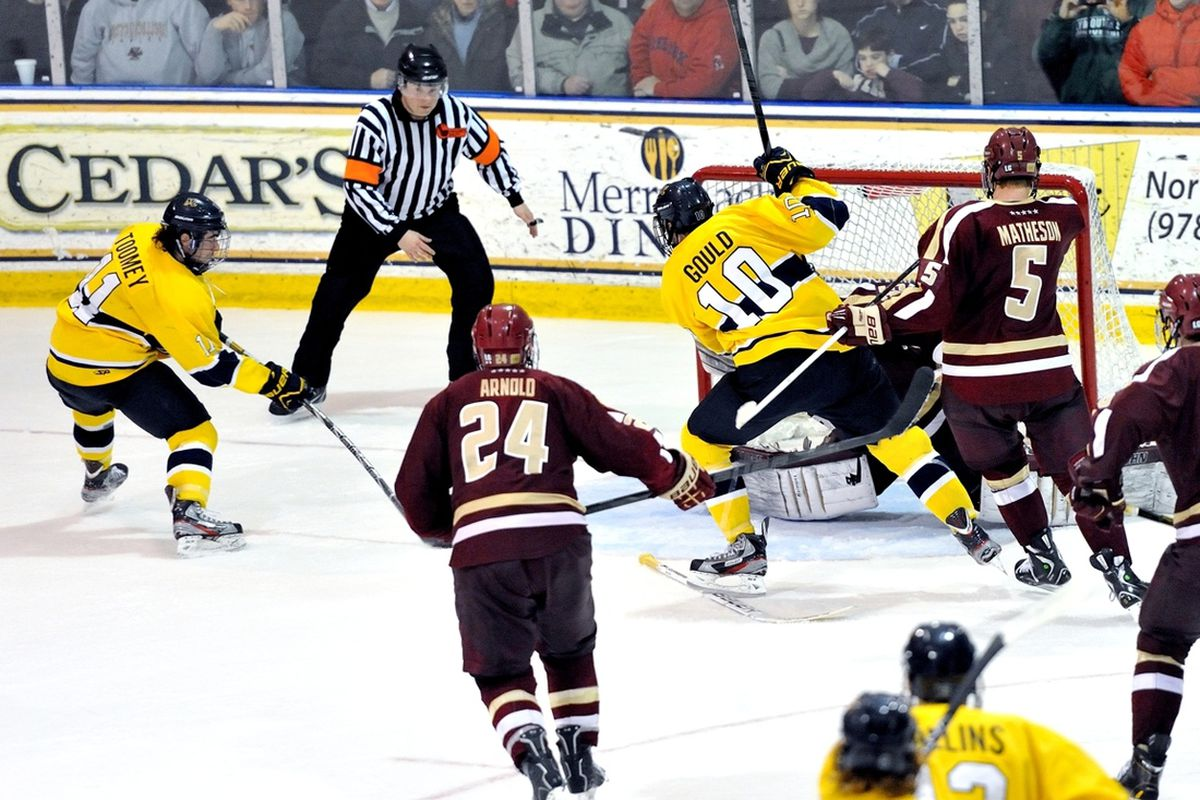 Merrimack's Connor Toomey scored the game-winner in overtime as the Warriors took over first place in Hockey East with a 2-1 win over BC.