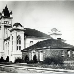 A historical photograph of the Lehi Stake Tabernacle and Seminary, on Sept. 1, 1962.