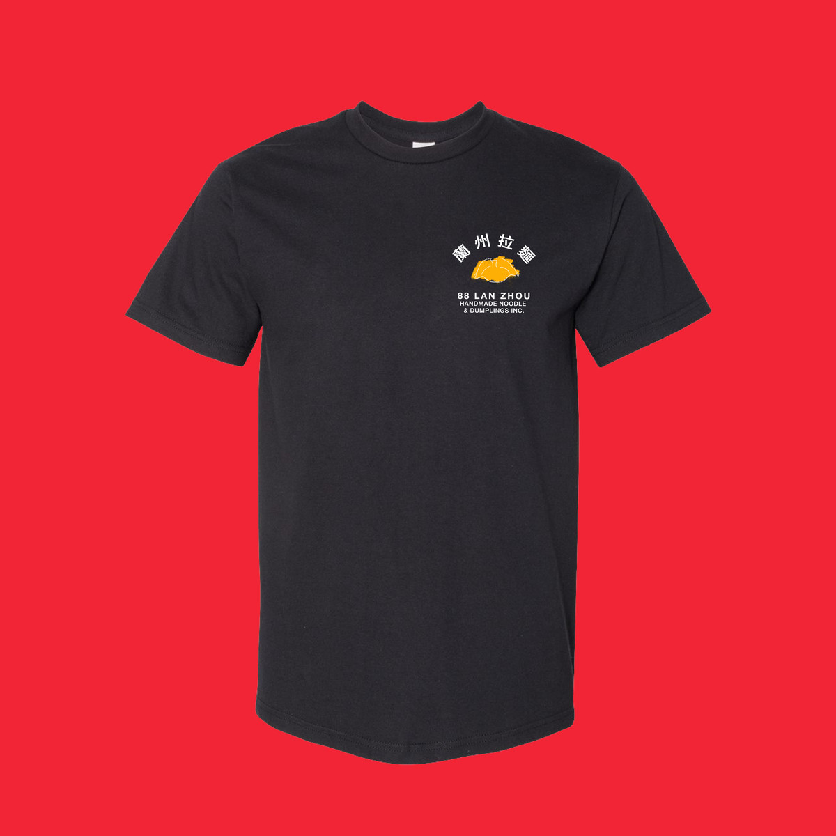 A stock image of a black t-shirt with a small image of a yellow dumping appears over a red background