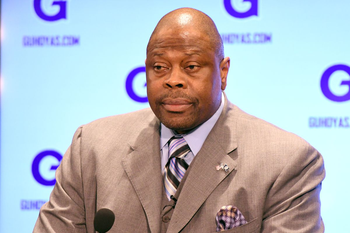 NBA Hall of Famer and former Georgetown Hoyas player Patrick Ewing is introduced as the Georgetown Hoyas' new head basketball coach at John Thompson Jr. Athletic Center on April 5, 2017 in Washington, DC.