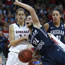 Brigham Young Cougars guard Lexi Eaton (21) is fouled by Gonzaga Bulldogs forward Sunny Greinacher (14) during the West Coast Conference championship game in Las Vegas Tuesday, March 11, 2014. BYU lost 71-57.