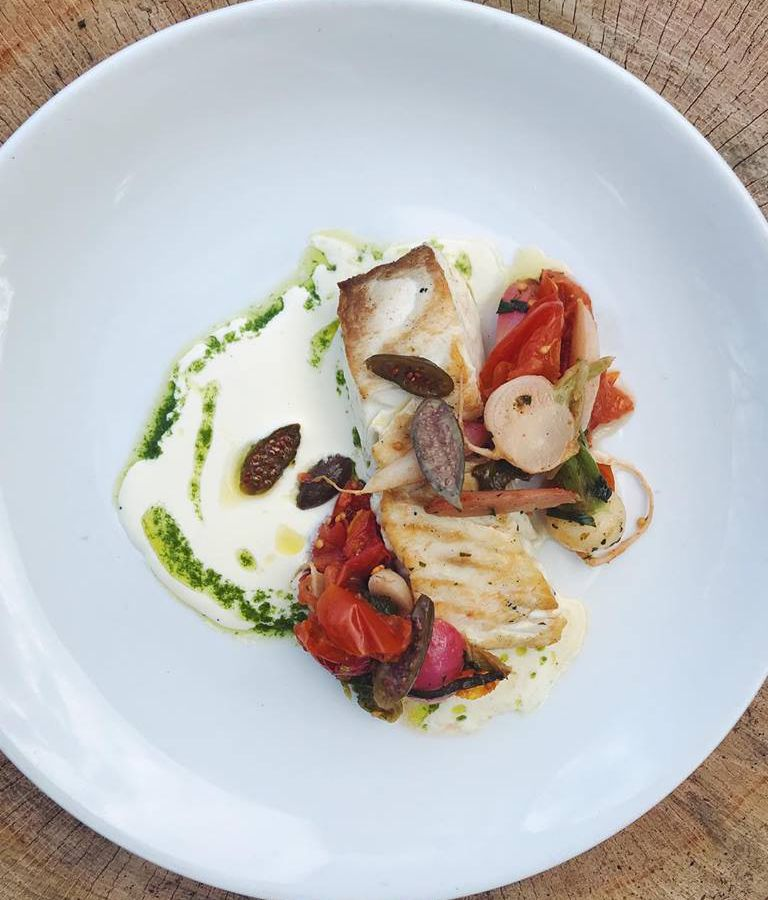 Closeup on a white plate of a white fish filet with pesto and other accoutrements