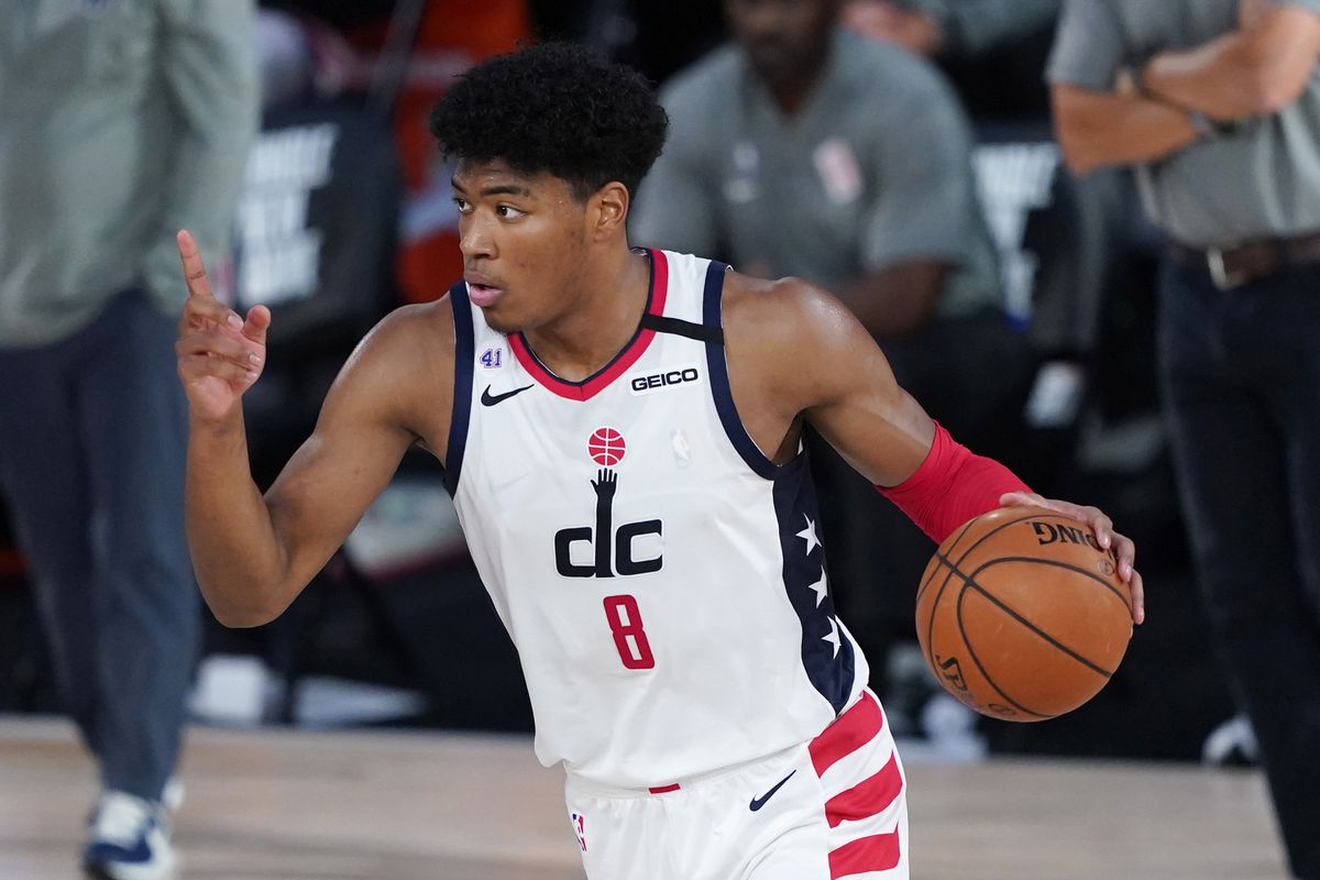Washington Wizards' Rui Hachimura gestures as he calls to teammates during the second half of an NBA basketball game, Tuesday, Aug. 11, 2020, in Lake Buena Vista, Fla. at Visa Athletic Center.