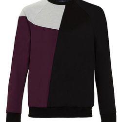 "<strong>Topman</strong> Poly Tricot Curve Panel Sweatshirt in Black/Purple/Light Grey, <a href=""http://us.topman.com/webapp/wcs/stores/servlet/ProductDisplay?searchTerm=sweatshirt&storeId=13051&productId=11718186&urlRequestType=Base&categoryId=&langId=-1&"