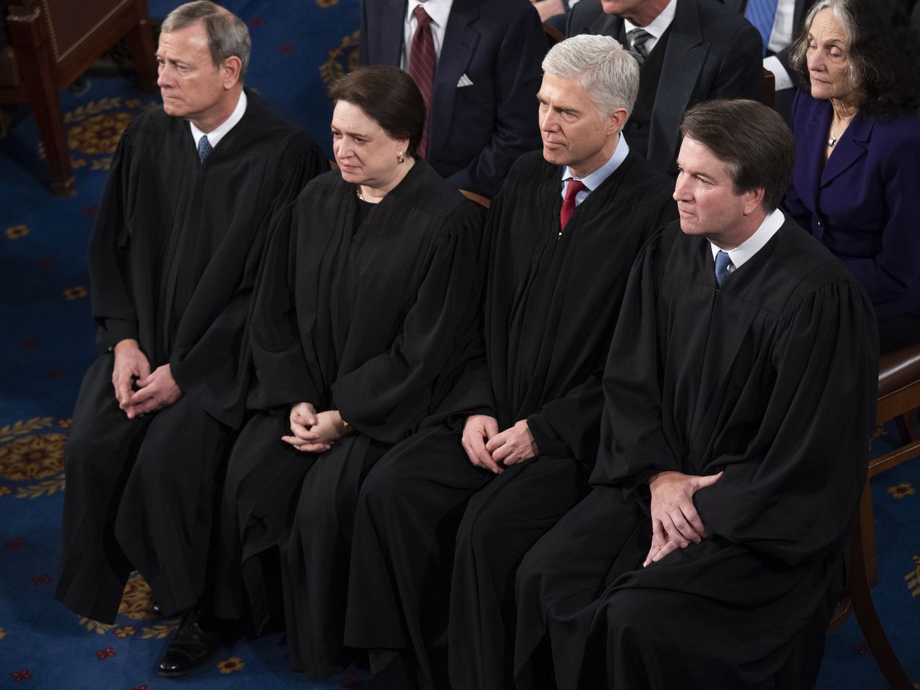 Chief Justice John Roberts and associate justices Elena Kagan, Neil Gorsuch, and Brett Kavanaugh at the State of the Union on February 4, 2020.