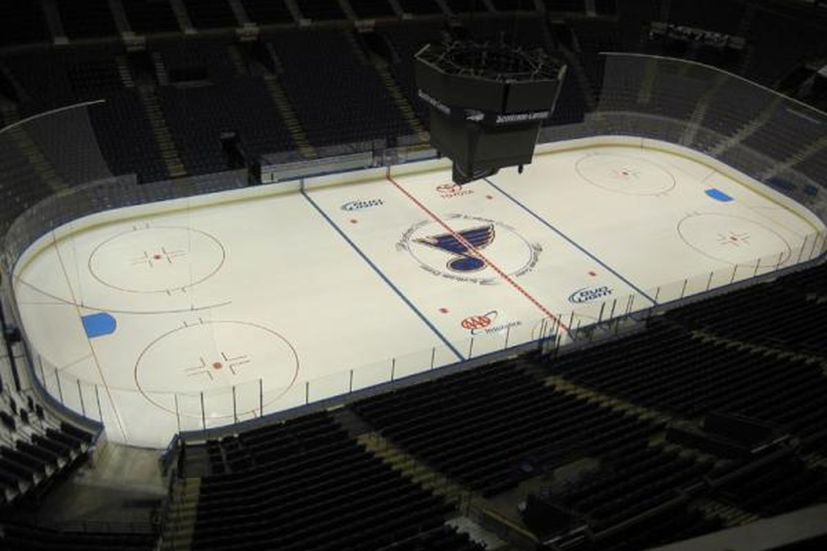 The ice is ready for hockey at the Drinkscotch Center. (Via official St. Louis Blues Twitter feed)