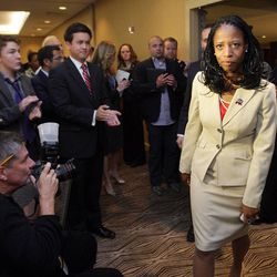 Republican 4th Congressional District candidate Mia Love concedes the race  at the Hilton  in Salt Lake City  Wednesday, Nov. 7, 2012.
