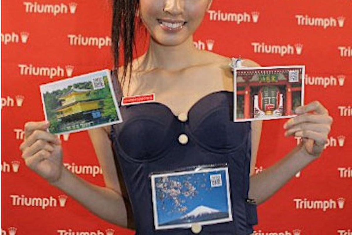 """Model sporting the """"Welcome to Japan"""" bra, image via <a href=""""http://www.japanprobe.com/2010/11/11/the-welcome-to-japan-tourism-bra/"""">Japan Probe</a>"""