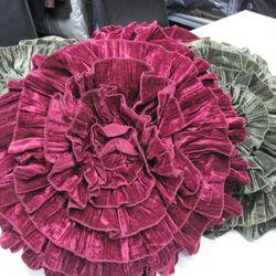 Velvet and silk pillows, $30 each