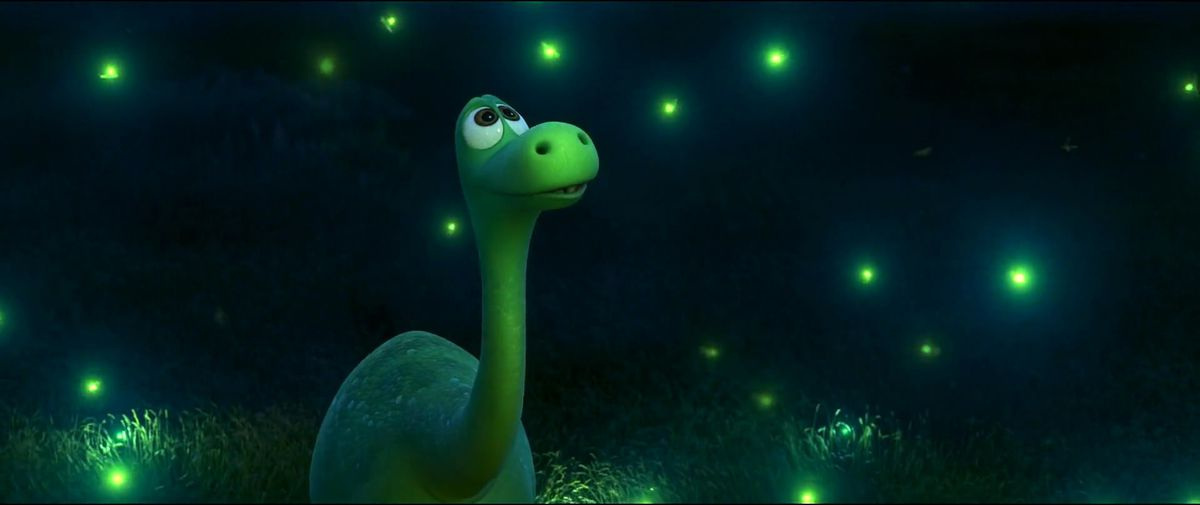 green dinosaur looking up as fireflies sparkle