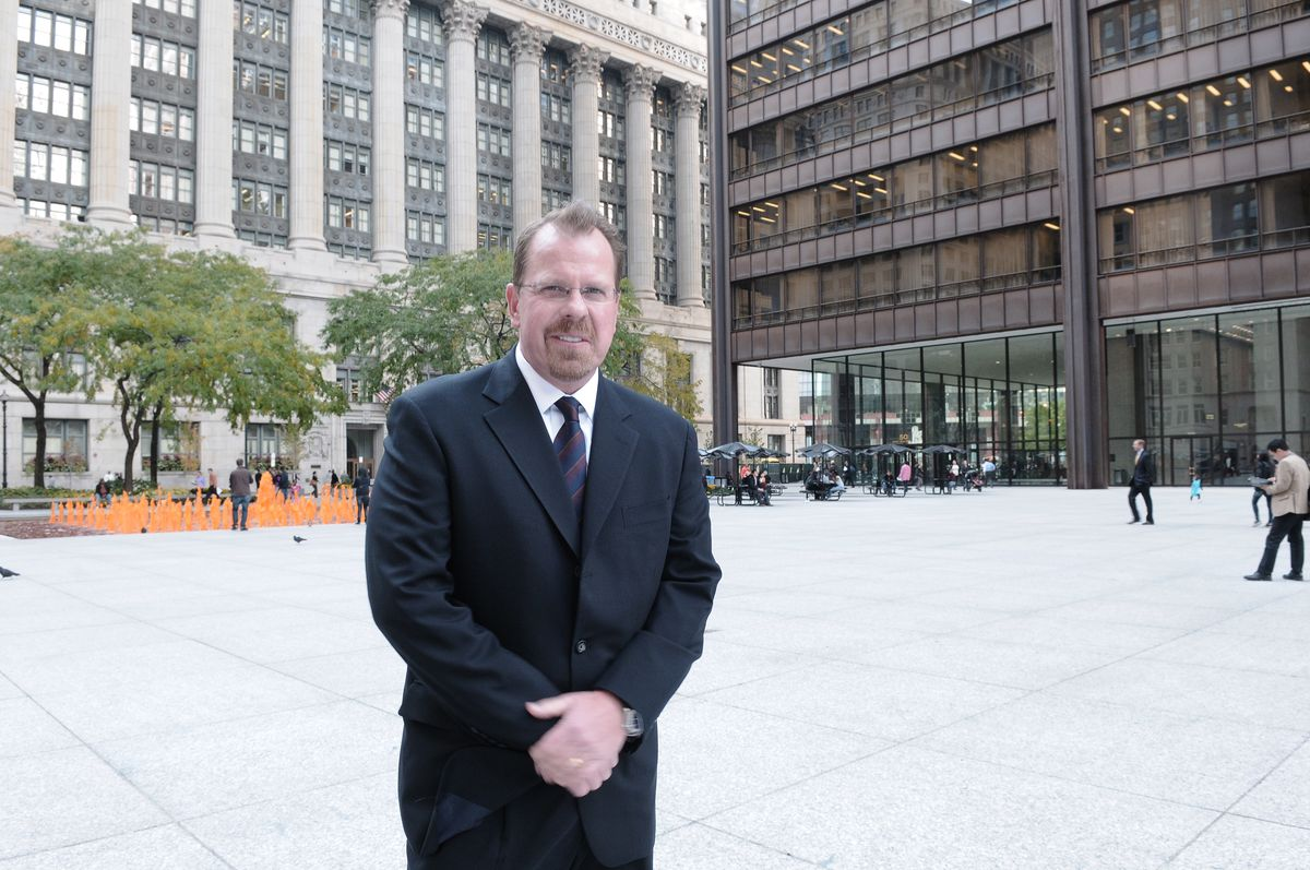 Cook County Inspector General Patrick Blanchard outside his Loop office in 2012.