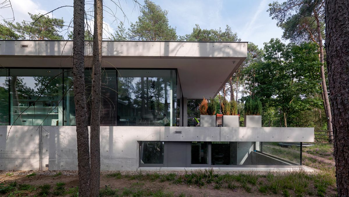 Outside of concrete house with windows