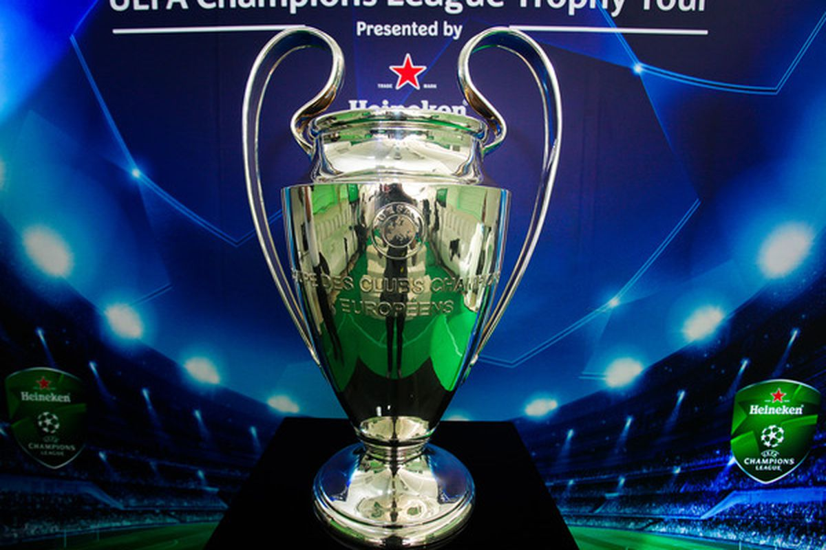 BANGKOK, THAILAND - MARCH 16:  The UEFA Champions League Trophy is displayed during the UEFA Champions League Trophy Tour Asia 2011 Press Conference on March 16, 2011 in Bangkok, Thailand.  (Photo by Athit Perawongmetha/Getty Images)
