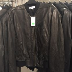Leather combo jacket, size P, $349 (from $1,150)