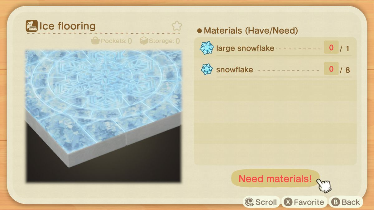 An Animal Crossing recipe for an Ice Flooring