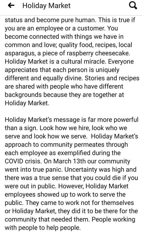 A screenshot of part three of the Holiday Market statement.