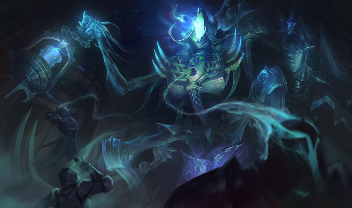 Spectral Fiddlesticks emits a green glow as it sucks the souls out of humans