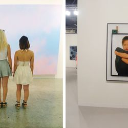 """""""The fair consisted of over 250 galleries from all over the world. We were lucky enough to stumble upon some of our favorite pieces by LA-based artists <b>Alex Israel</b> and <b>Amanda Ross Ho</b>. Here we are gazing into the gigantic, dawn-colored sky by"""