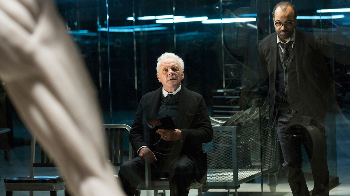 Westworld - Dr. Robert Ford and Dr. Bernard Lowe look at a host model