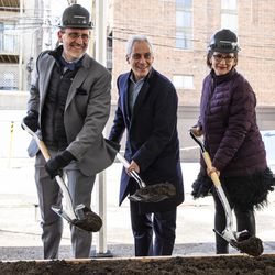 (From left) Steppenwolf Theatre executive director David Schmitz, Mayor Rahm Emanuel and Anna Shapiro, artistic director of Steppenwolf, break ground on a campus expansion for the company and unveils plans for a new theater building on Halsted Street, Tuesday, March 5, 2019. | Ashlee Rezin/Sun-Times