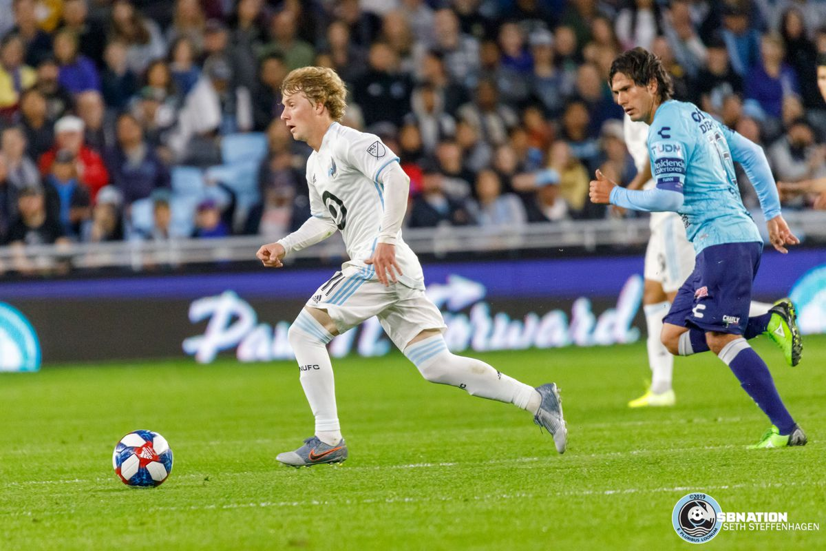 September 7, 2019 - Saint Paul, Minnesota, United States - Minnesota United midfielder Thomas Chacon (11) dribbles the ball during the  international friendly match against Pachuca at Allianz Field.