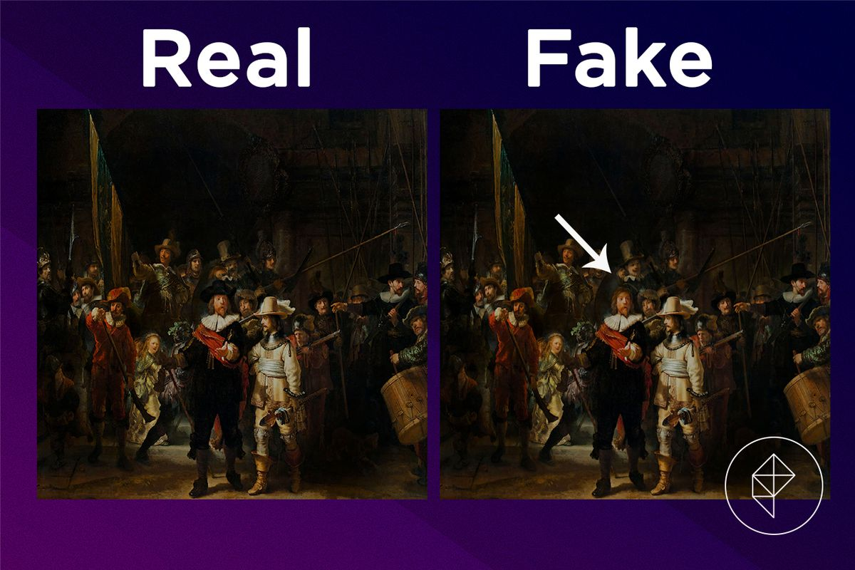 A comparison showing that the fake version of the Amazing Painting is missing a hat
