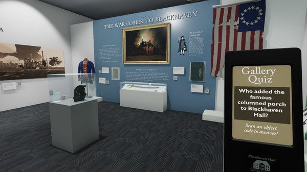 """an image of a museum exhibit in a game. the name of the exhibit in the game says, """"the war comes to Blackhaven"""""""