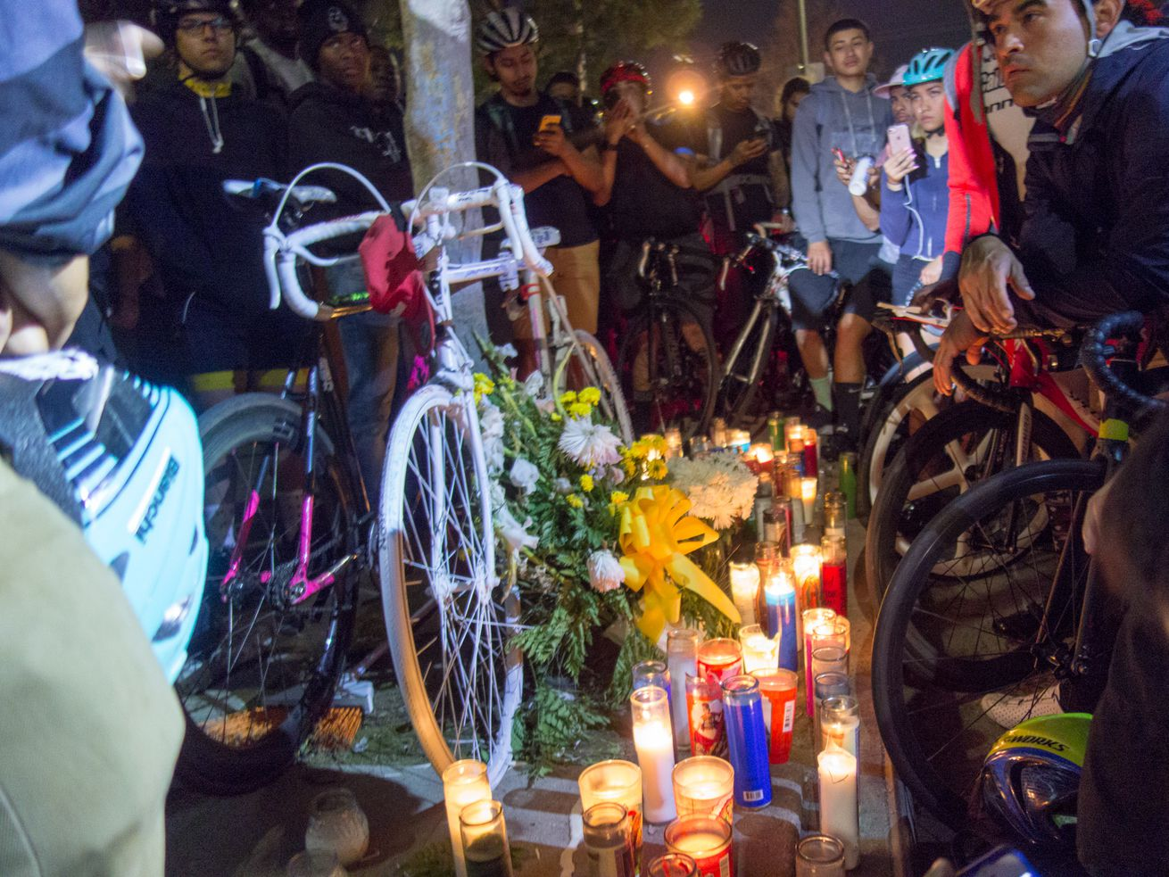 "A ""ghost"" bike for Frederick Frazier, who was killed by a hit-and-run driver."