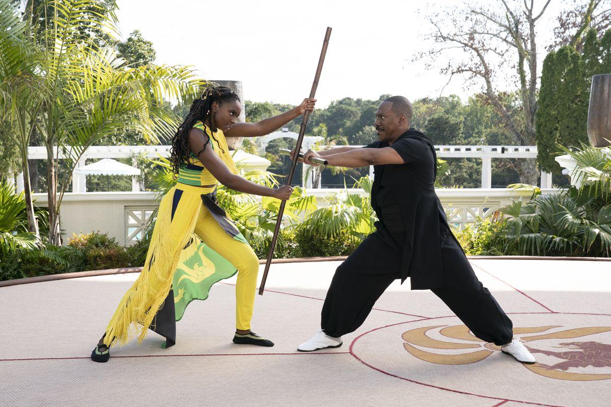 "Princes Meeka (KiKi Layne) faces off against her father, Zamunda's Prince Akeem (Eddie Murphy), in ""Coming 2 America."""