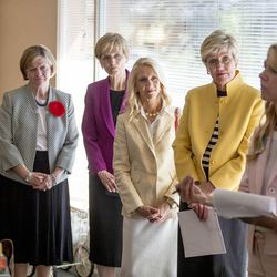 LDS auxiliary leaders listen as program manager Susanne Mitchell welcomes them to a tour of the Avenues Children's Justice Center Tuesday, April 28, 2015, in Salt Lake City.