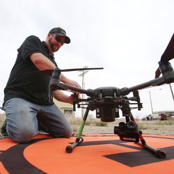 Chad Walker, of Rocky Unmanned Systems, gets his drone ready for flight during a workshop on the Goshute Skull Valley Reservation on Tuesday, June 25, 2019. The two-day workshop for emergency responders was hosted by Deseret UAS.