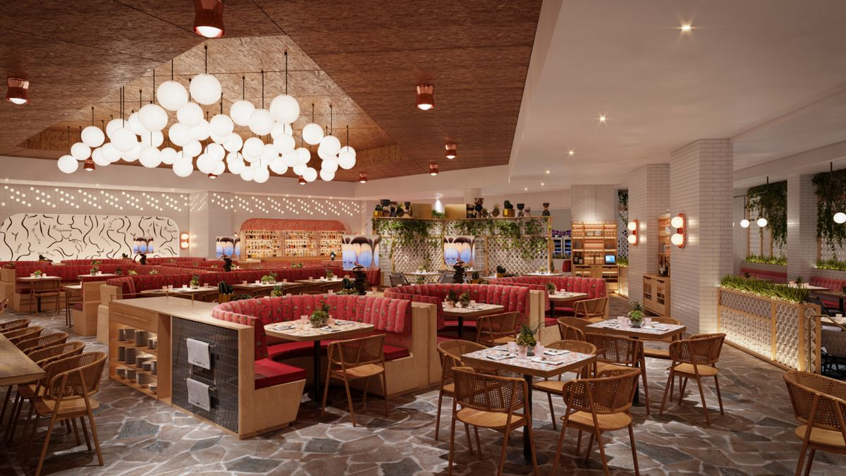 A rendering of a casual restaurant