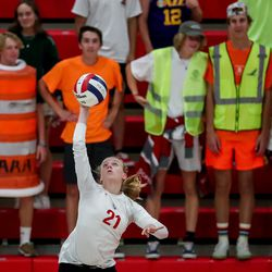 Mountain Ridge's Sadie White serves against Skyridge in a girls volleyball match in Herriman on Tuesday, Sept. 7, 2021.