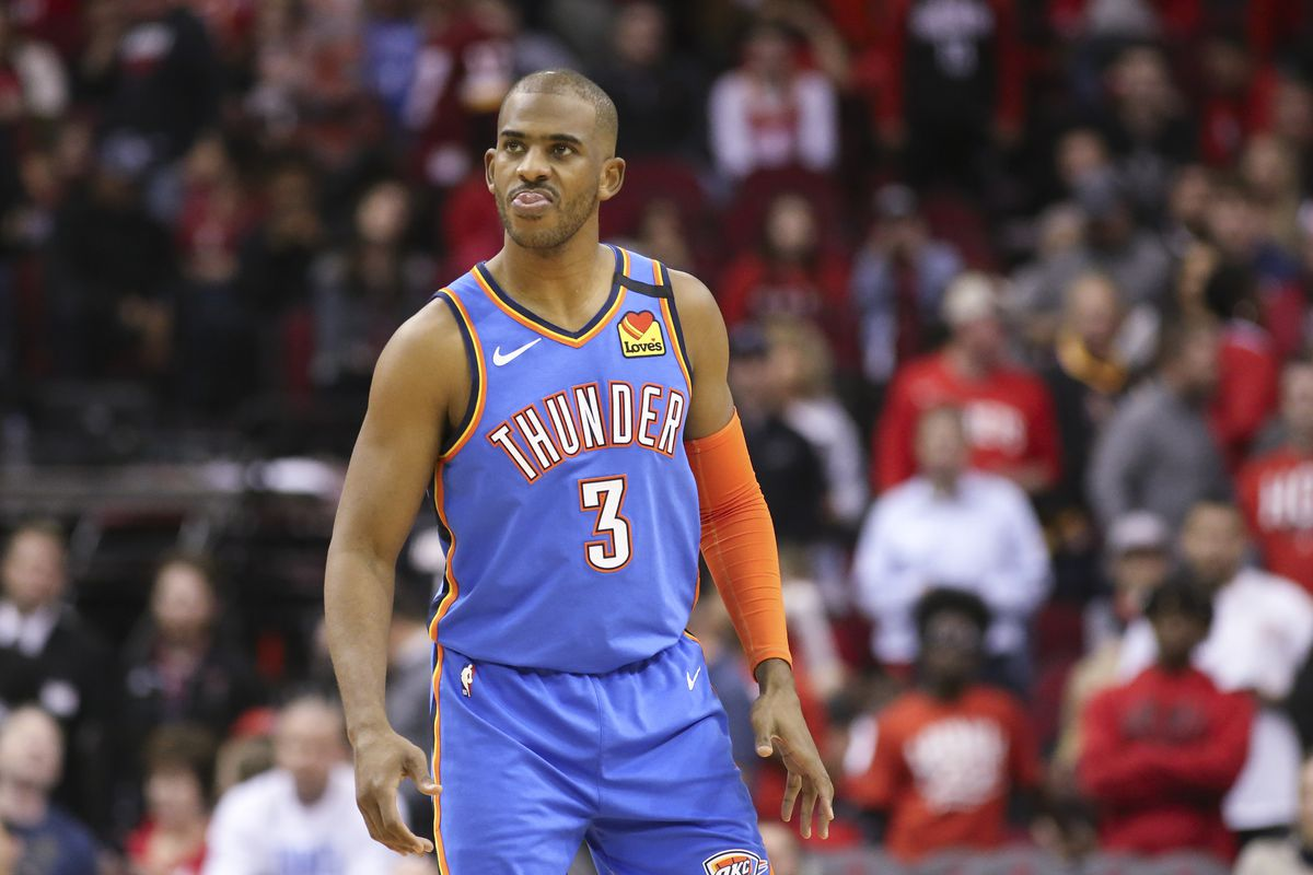Oklahoma City Thunder guard Chris Paul reacts against the Houston Rockets late in the fourth quarter at Toyota Center.