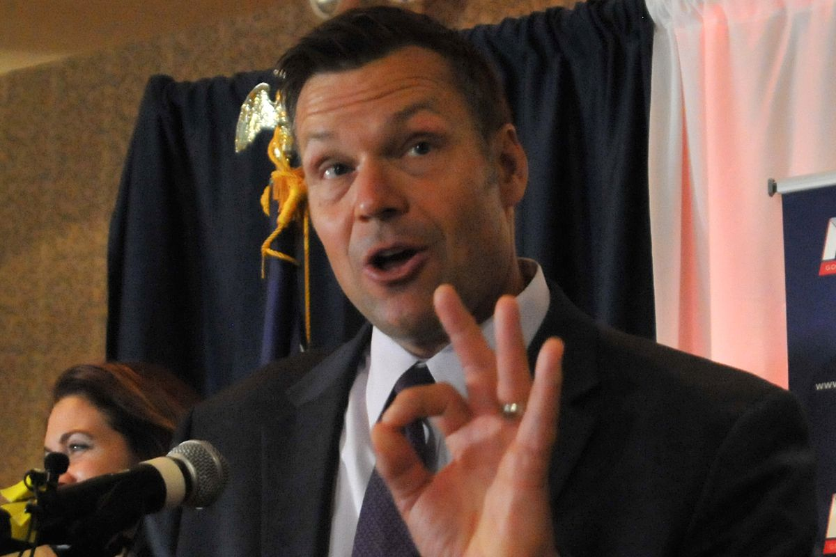 Kris Kobach speaks to supporters on election night