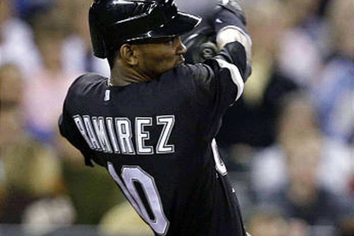 Chicago White Sox's Alexei Ramirez blasts a three-run home run against the Seattle Mariners in the ninth inning Tuesday.