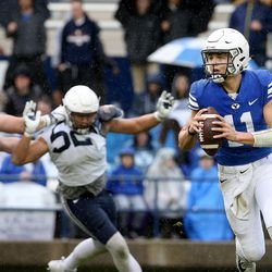 BYU's QB Zach Wilson looks to pass during the Blue-White game at LaVell Edwards Stadium in Provo on Saturday, April 7, 2018.