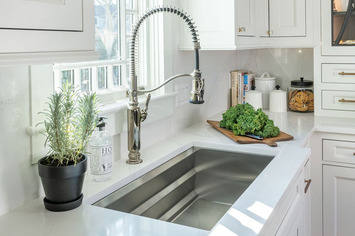 A kitchen sink with a new spring neck faucet.