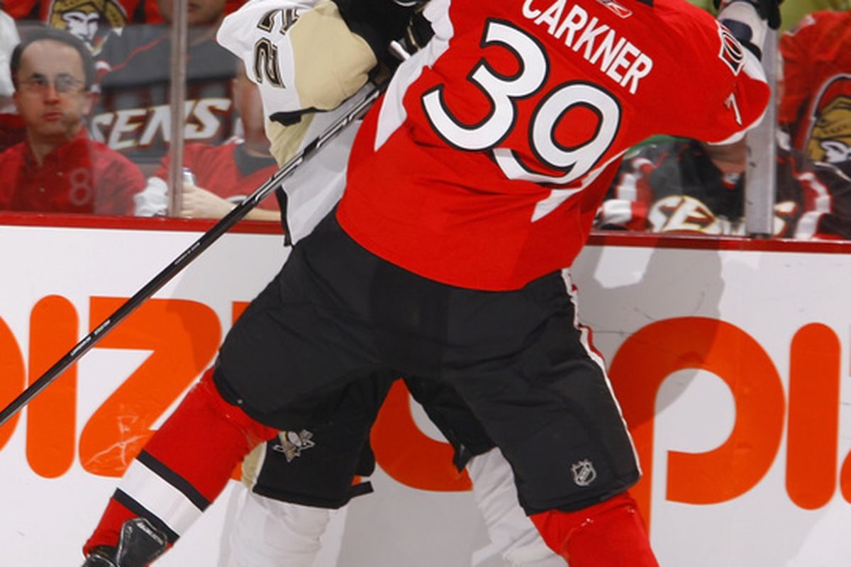 Matt Carkner is one of a few recent graduates from the Binghamton Senators to step up to the NHL. Hopefully, with the newfound commitment to rebuilding Ottawa's farm system, there will be many more like him in the near future.