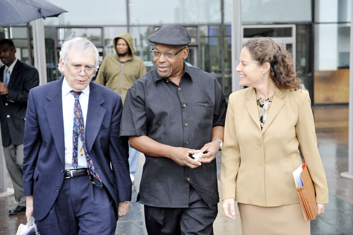 Lawyer Harold Winston (left) with Alton Logan following his release from prison in 2008 after spending 26 years in prison for a murder he did not commit, and Deputy Public Defender Susan Smith.
