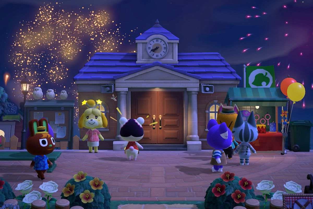 Animal Crossing: New Horizons villagers enjoy a fireworks show.