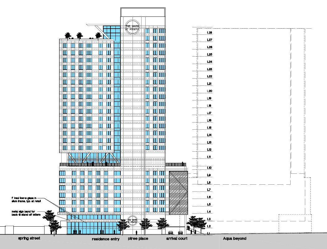 An architectural elevation of the student housing tower.