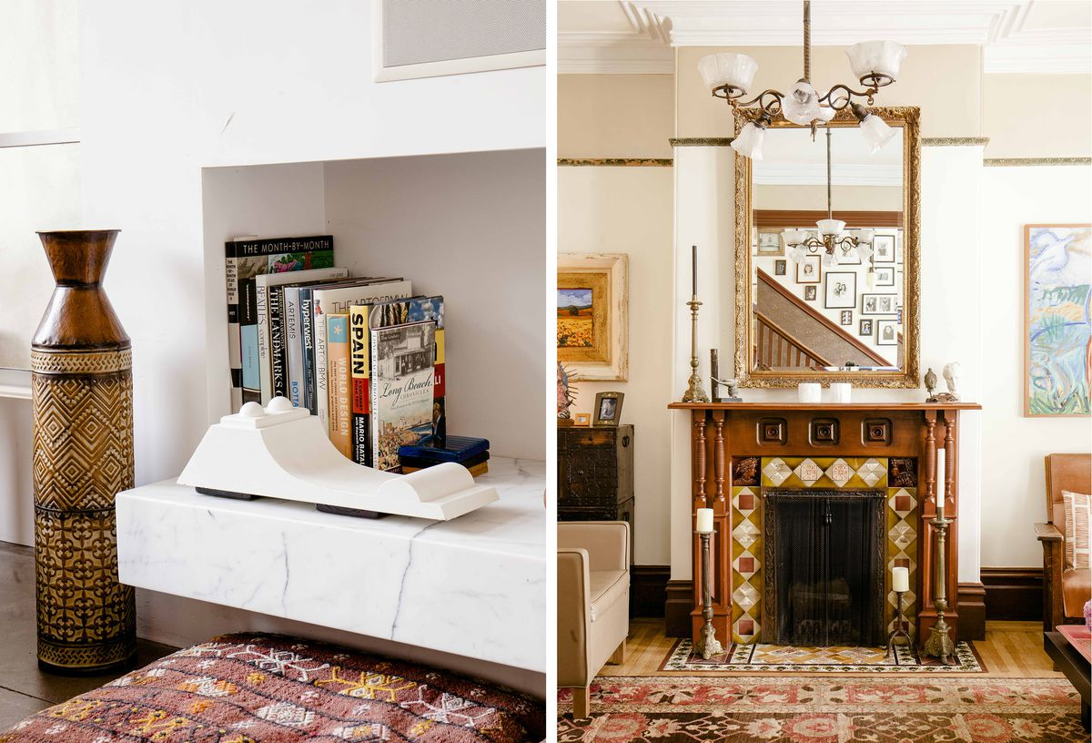 Left: Detail of a sleek modern fireplace. Right: A traditional Victorian fireplace.