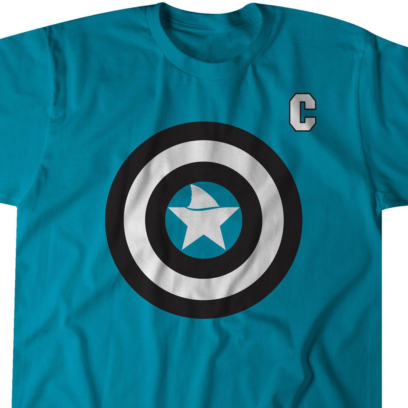 buy popular 9ae34 ac101 Joe Pavelski gets his shield with this Captain America shirt ...