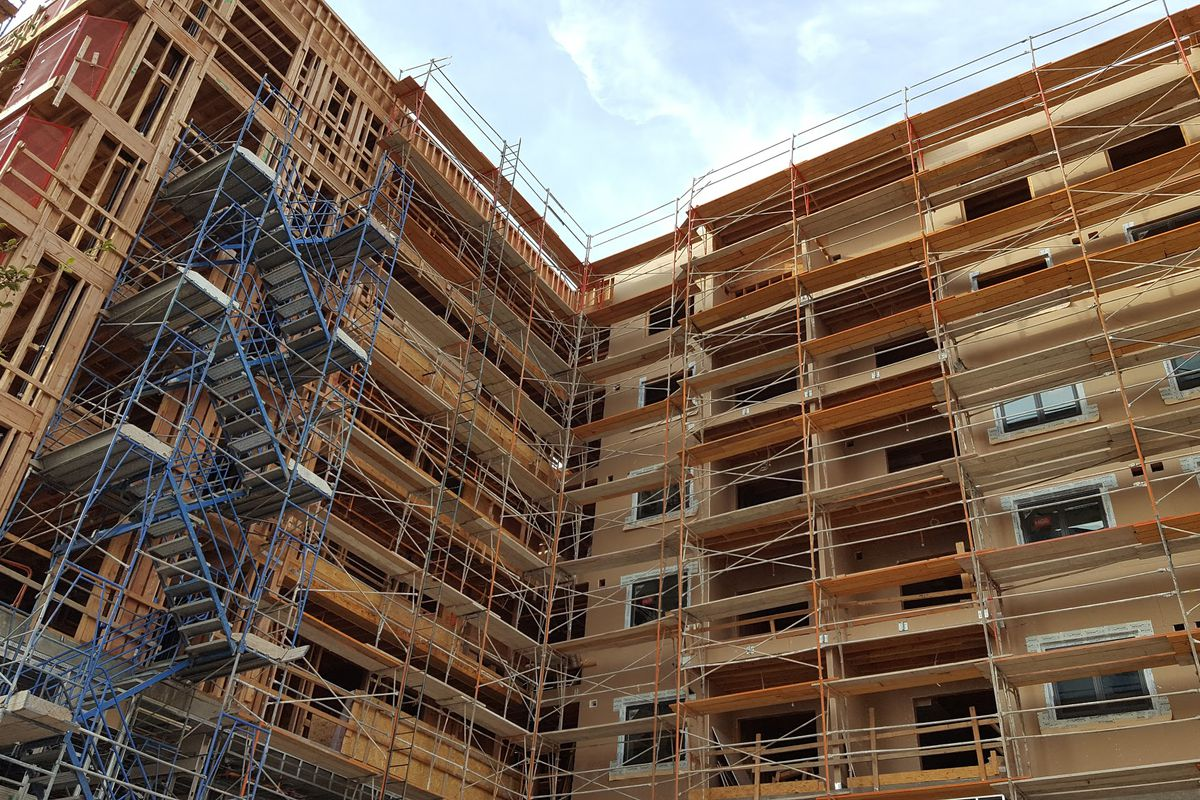View of apartments under construction