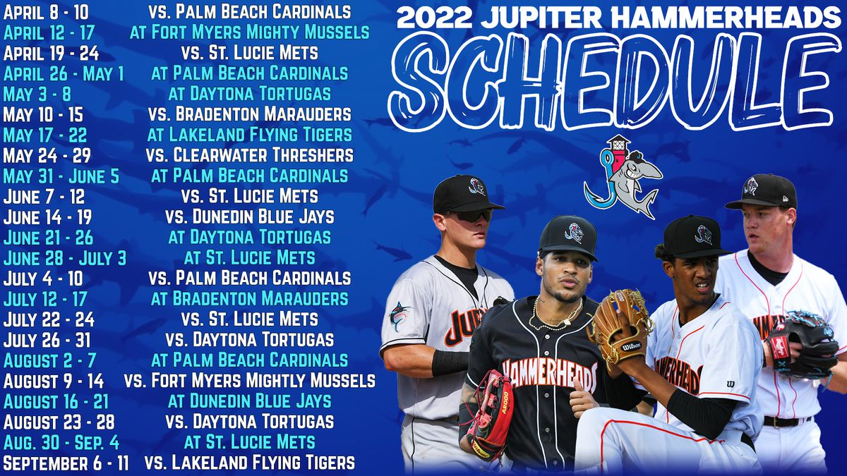 The Low-A Jupiter Hammerheads are scheduled to play 23 series during the 2022 Minor League Baseball season