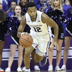 Northwestern guard Isiah Brown (12) plays against Sacred Heart during the second half of an NCAA college basketball game, Friday, Nov. 24, 2017, in Rosemont, Ill. Northwestern won 81-50.